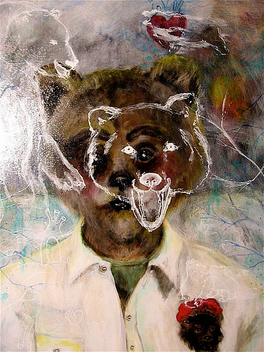 Acrylic painting Grizzly Bear complex, wrestling inner conflicts by Barb Martel