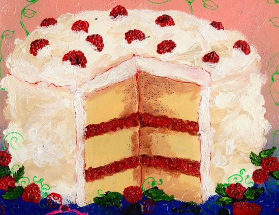 i painted this for charity, a raspberry cake! kitchen painting by Darcy Martel