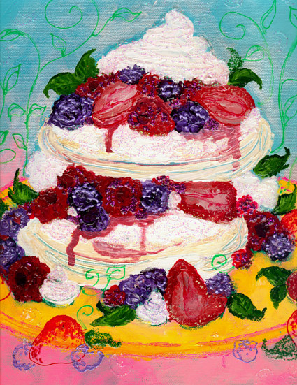 i painted these kitchen paintings for charity, this is a pavlova with berries by Barb Martel