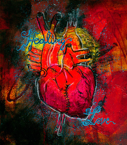 Acrylic painting Heart by Barb Martel