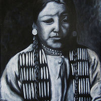 Acrylic painting Indian Girl by Elizabeth Mercer