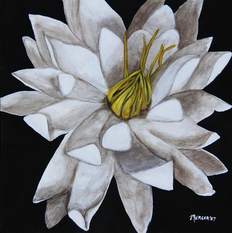 Acrylic painting Lotus Flower by Elizabeth Mercer