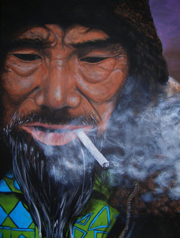 Acrylic painting Smoken' Grandpa by Elizabeth Mercer