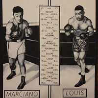 Acrylic painting Marciano Vs Louis by Elizabeth Mercer