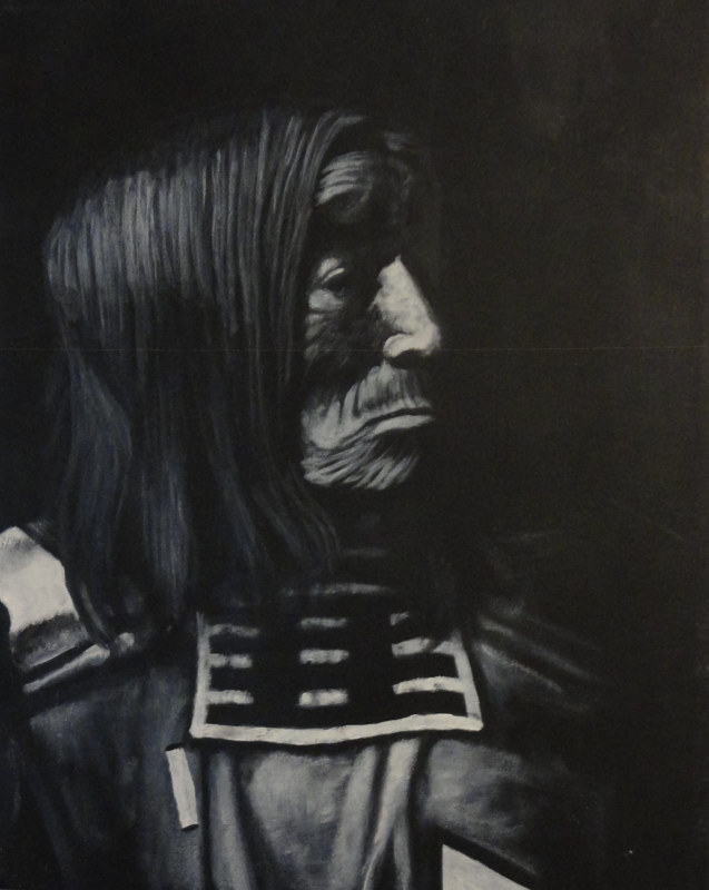 Acrylic painting Indian Elder by Elizabeth Mercer
