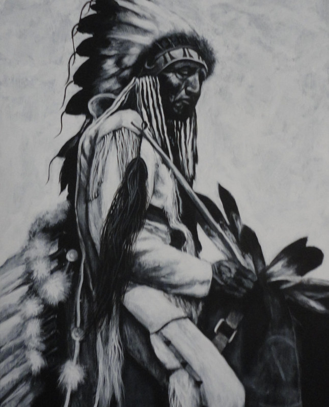 Acrylic painting Indian on Horseback #1 by Elizabeth Mercer