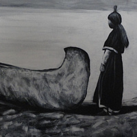 Acrylic painting Indian Canoe by Elizabeth Mercer