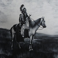 Acrylic painting Indian on Horseback by Elizabeth Mercer