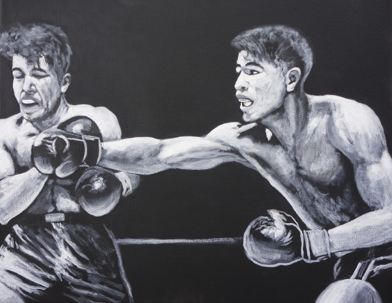 Acrylic painting The Knock Out by Elizabeth Mercer