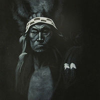 Acrylic painting Indian Chief by Elizabeth Mercer