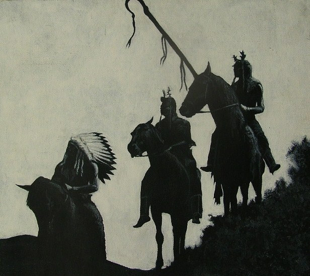 Acrylic painting Three Horsemen by Elizabeth Mercer