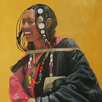 Acrylic painting Tibetan Woman  by Elizabeth Mercer