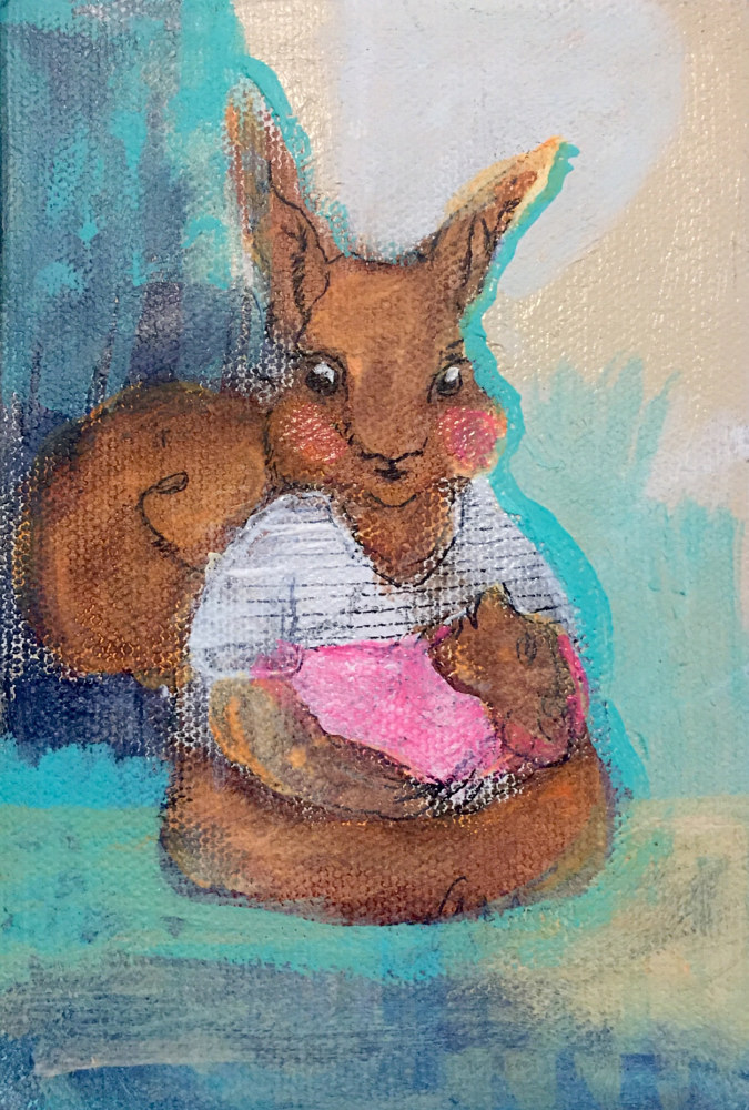 Acrylic painting Red Squirrel by Barb Martel