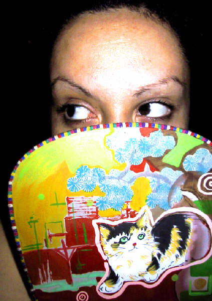 I painted on this lovely fan I bought in Chinatown, Vancouver. I did a Vancouver abstract cityscape and it had a cute kitten already! by Darcy Martel