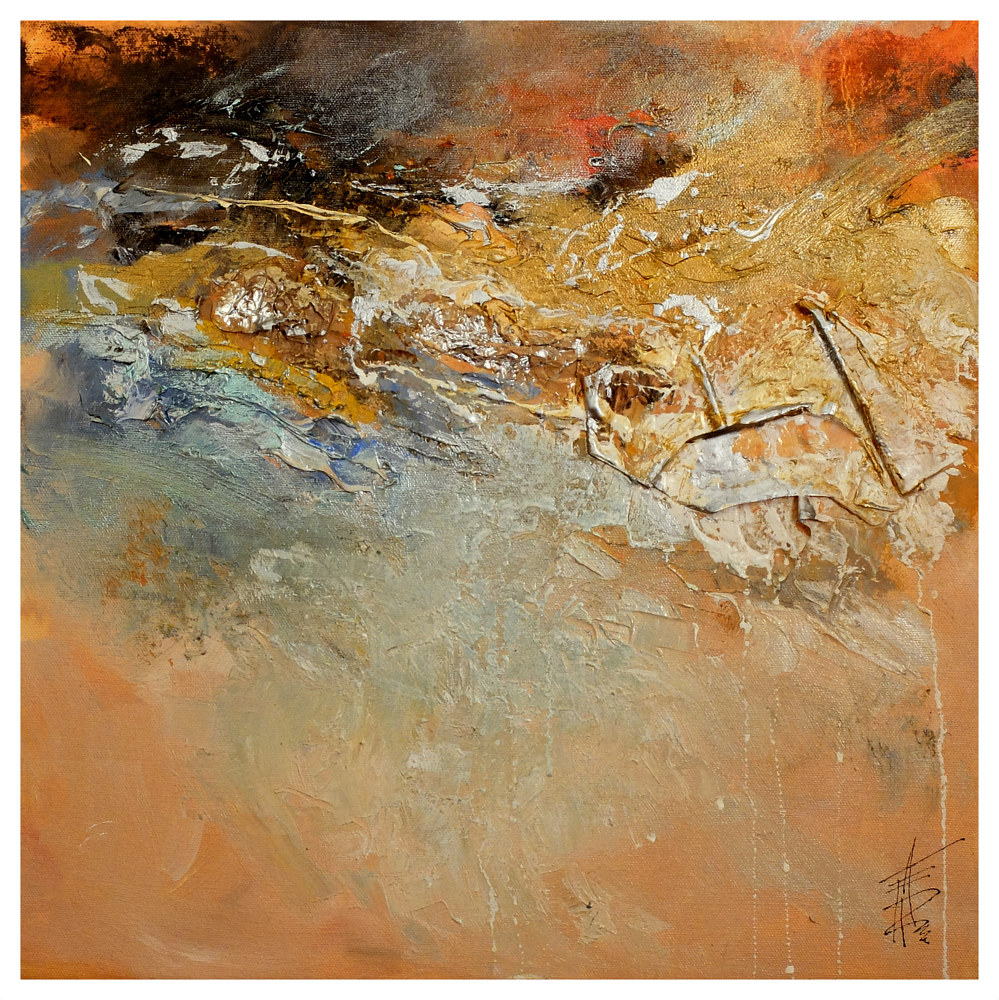 Mixed-media artwork Above Sunset  by Anne Farrall Doyle