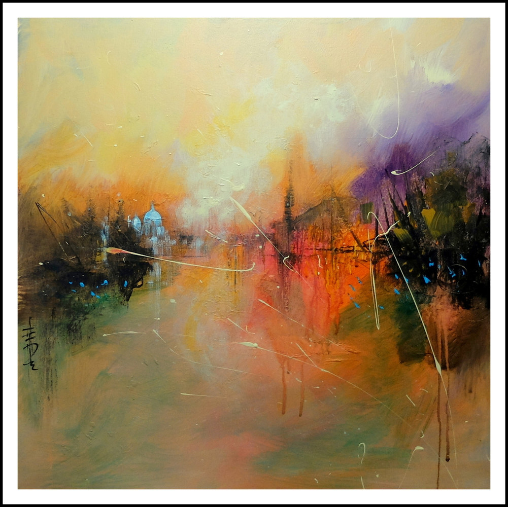 Mixed-media artwork Lagoon by Anne Farrall Doyle