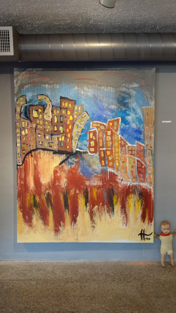 "Oil painting ""What use is the Wind in between Two Cities Divided?"" by Kyle Heinly"