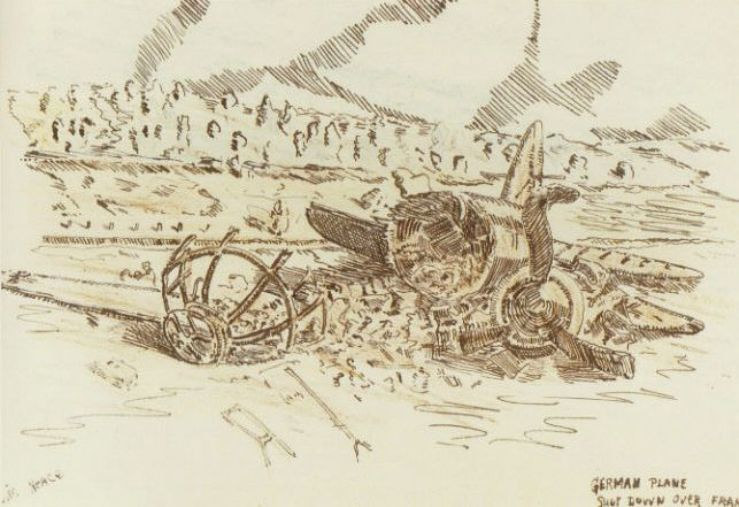 Print Wreckage of German Plane by David Neace
