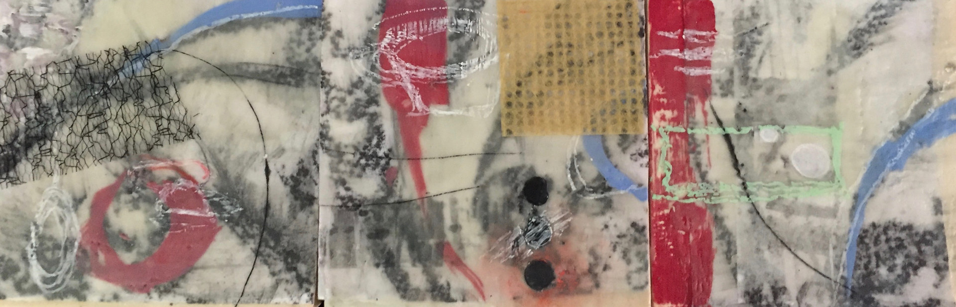 Mixed-media artwork Primary Collage Triptych by Lisa Printz