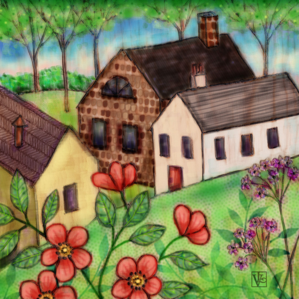 Mixed-media artwork The Tiny Village by Valerie Lesiak