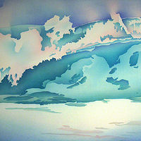 Watercolor Turquoise Wave by Anne Popperwell