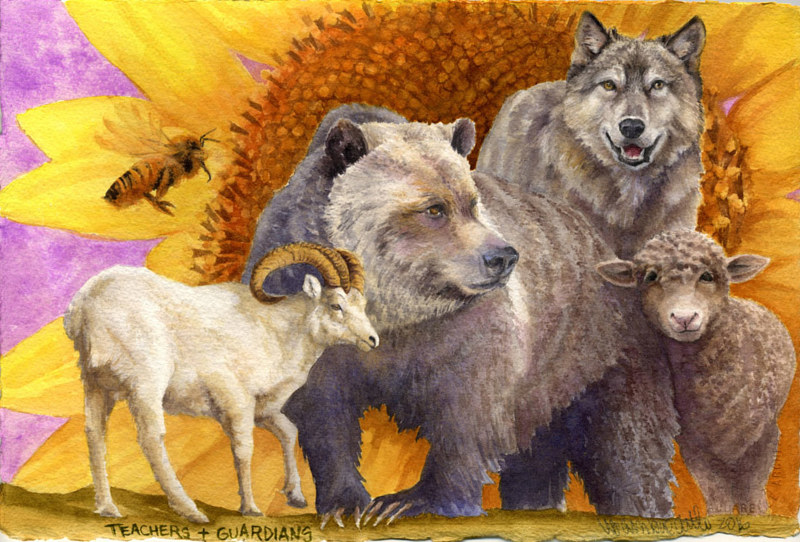 Painting Guardians & Teachers by Lisa  Baechtle