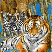 Watercolor Tiger Zebra Elephant by Lisa  Baechtle
