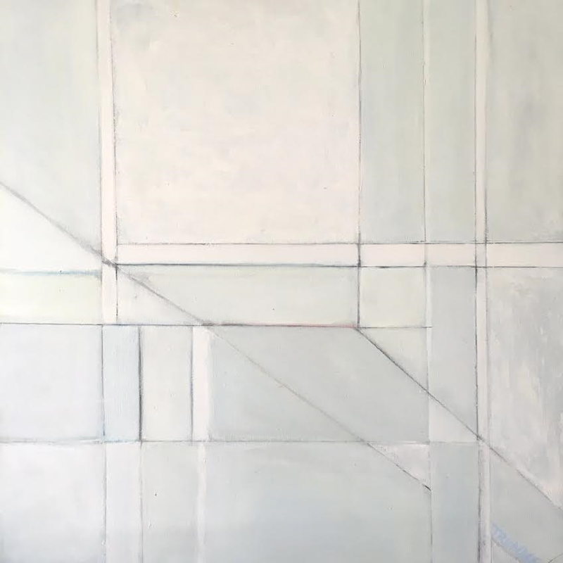 Oil painting Shapes in Blues by Sarah Trundle