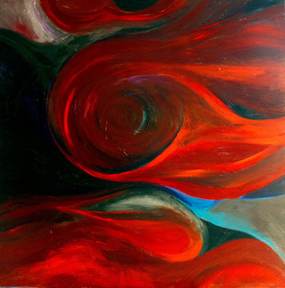 Acrylic painting Red Twist | Torsion Rouge by Nathalie Gribinski