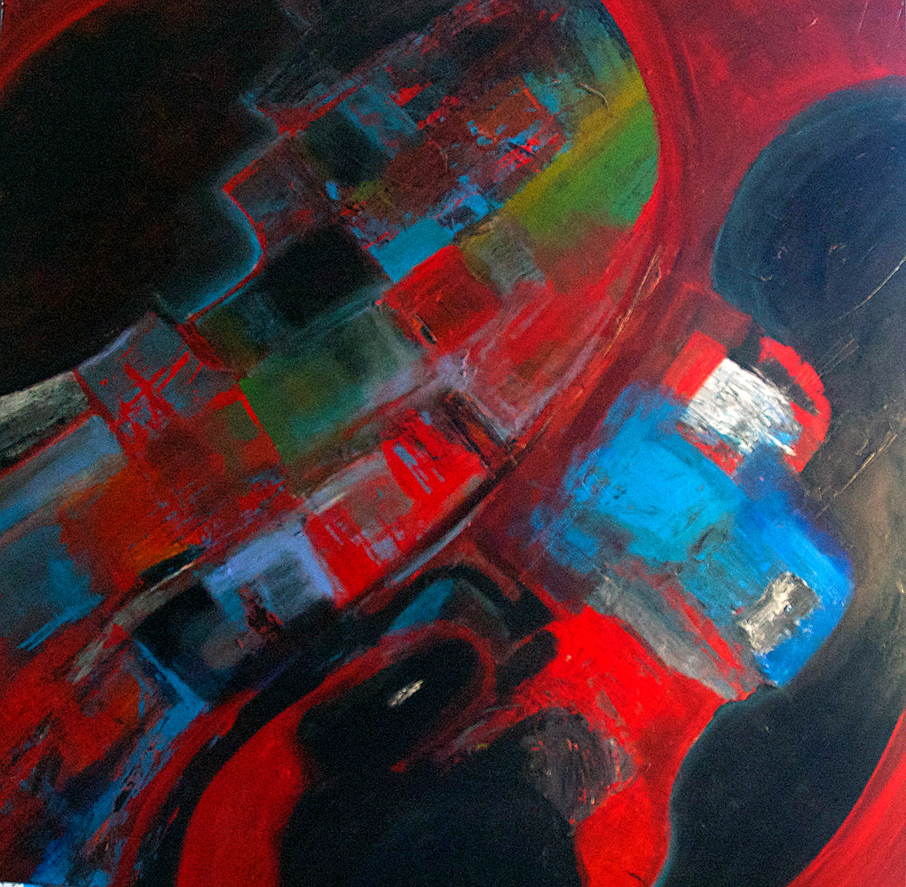 Acrylic painting On the Road Again | Encore sur la Route by Nathalie Gribinski