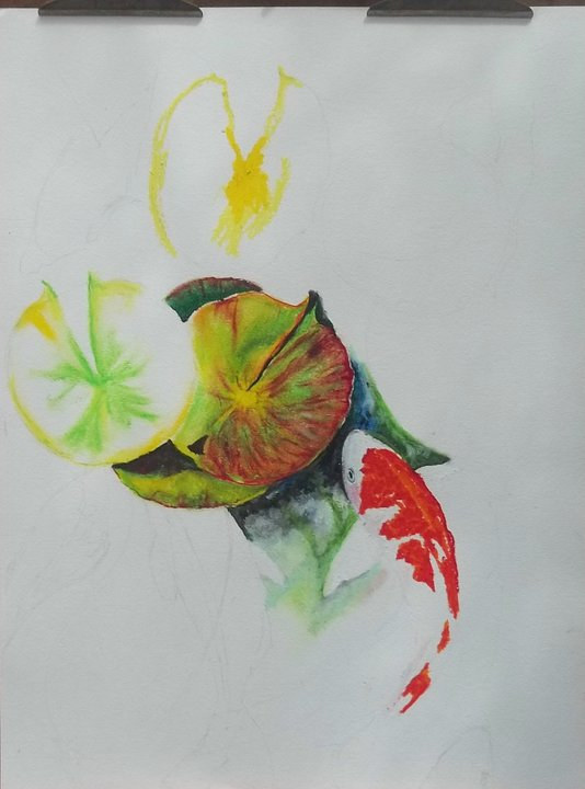 """Koi"" under construction.  Not quite done, but I like this image. by Vincent Bova"