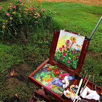 Painting Mom's Flowers by Larry Carter