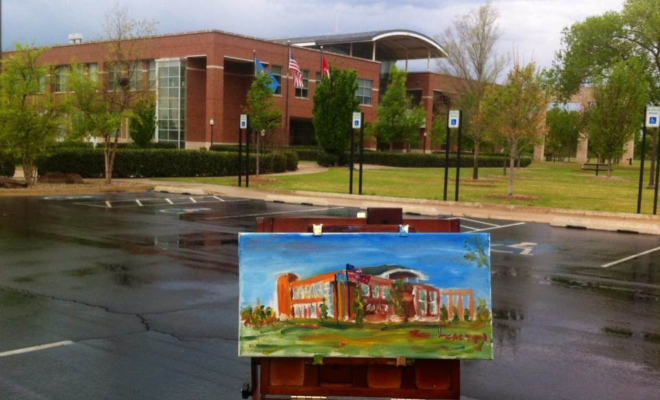 Rainy Day Painting at OU SRTC Building by Larry Carter
