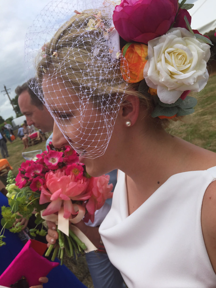 Alice's bridal headdress by Fiona Menzies