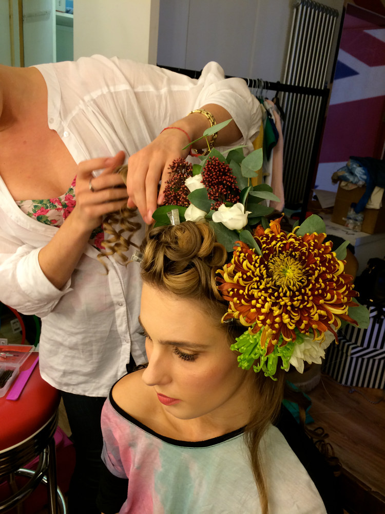 Fresh flower garland headdress  by Fiona Menzies