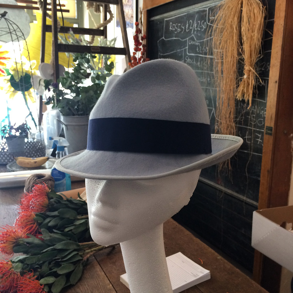 Duck egg blue trilby for Cheltenham by Fiona Menzies