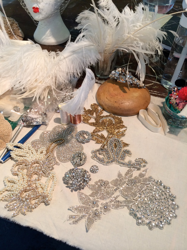 Bridal headdress preparation by Fiona Menzies