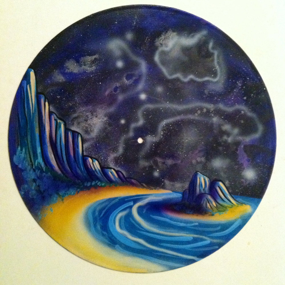 Coast  - Painting on Vinyl Record by Mr Mizu by Isaac Carpenter
