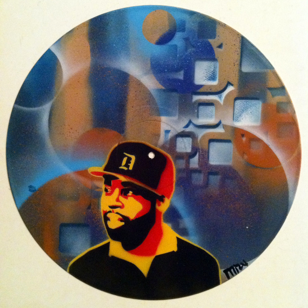 J- Dilla  - Painting on Vinyl Record by Mr Mizu by Isaac Carpenter