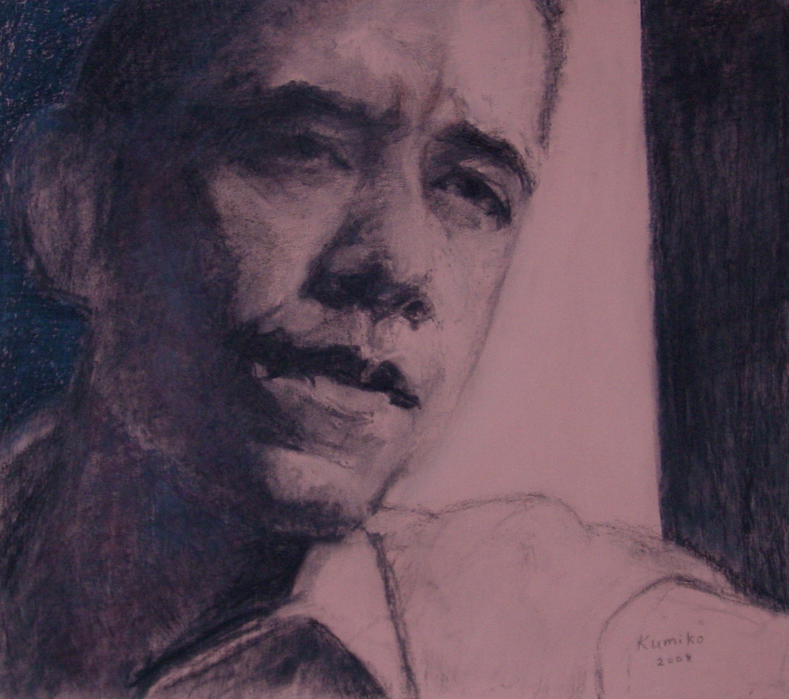 Drawing Barack Obama Looking Out by Kumiko Buller