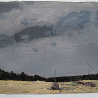 Acrylic painting Wet April Fields by Harry Stooshinoff