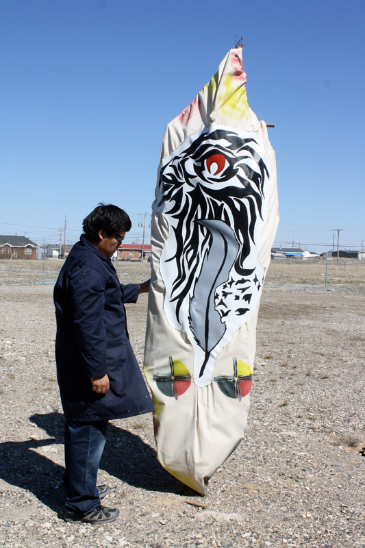 Painting Graffiti Canoe--Attawapiskat Art Class Project by Sharon  Hunter