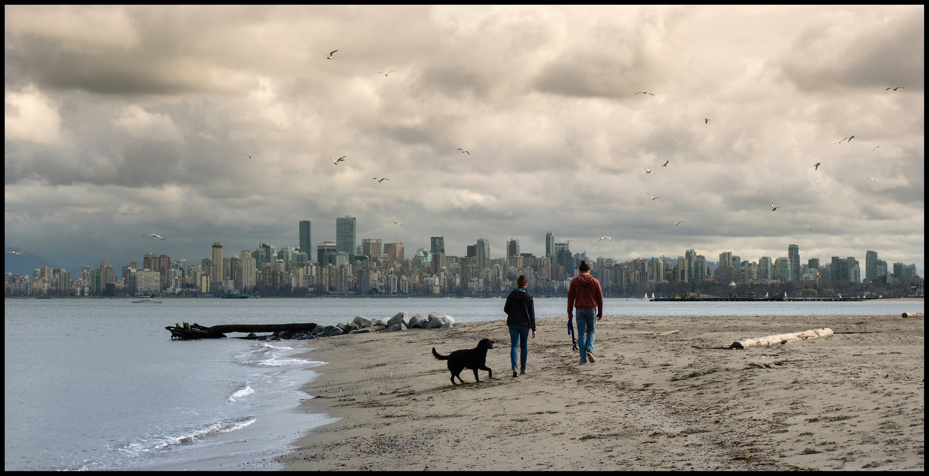 DSC01670-Couple & Dog On Beach by Jim Friesen