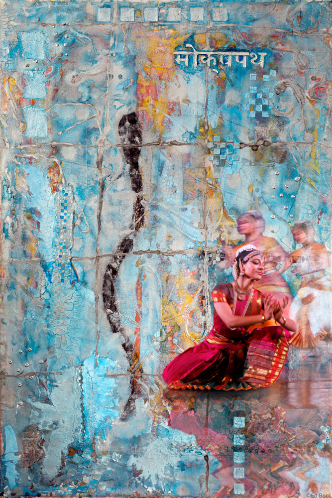 Acrylic painting Moksha Pat with Ed Bock Photo of Aparna, Principal Dancer of RagamalaDance by Edward Bock