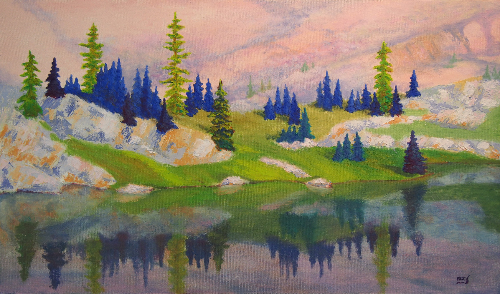 Oil painting Alpine Reflections by Brent Ciccone