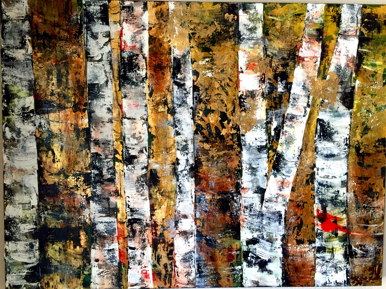 Acrylic painting Red Birches by Linda Richardi