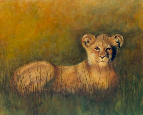 Acrylic painting Lioness by Sally Adams