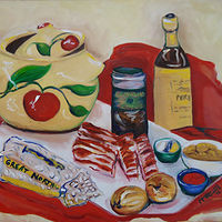 Oil painting Dad's Baked Beans by Michelle Marcotte