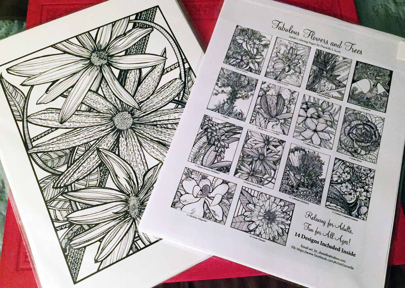 Drawing Fabulous Flowers & Trees Coloring Book for Adults, Vol. 1, 2nd Ed. by Danielle Scott