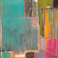 Acrylic painting Abstract with Teal by Sarah Trundle